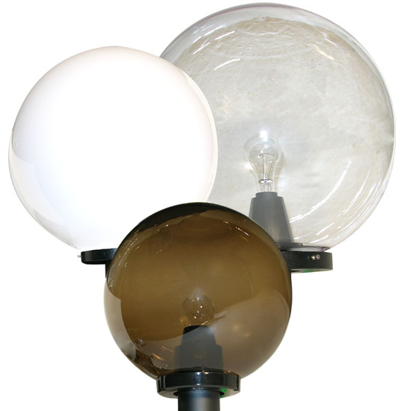 Post-top Spheres with Lens in Clear, Opal White or Smoke Bronze Polycarbonate or Acrylic